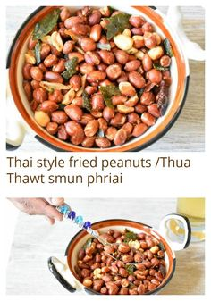 Delicious fried peanuts  made with garlic, red chilies and lemon leaves great munching snack with you drinks, It is one of street food from Thailand.