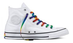 90d4981a5e37 Converse High Top Ladies Men 2017 Rainbow Pride White Custom LGTBQ w   Swarovski Crystal Rhinestone. Etsy