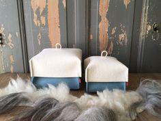 Basket BLAU KUORKE, #basket with #lid, in beautiful #petrol color. #handmade of 100% #wool #felt FryskFilt op Etsy