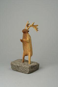 Antler Horn Caribou Figure Artist: Boonala Date: 1955 Geography: Canada, Nunavut, Ennadai Lake Culture: Inuit Medium: Bone, antler, stone