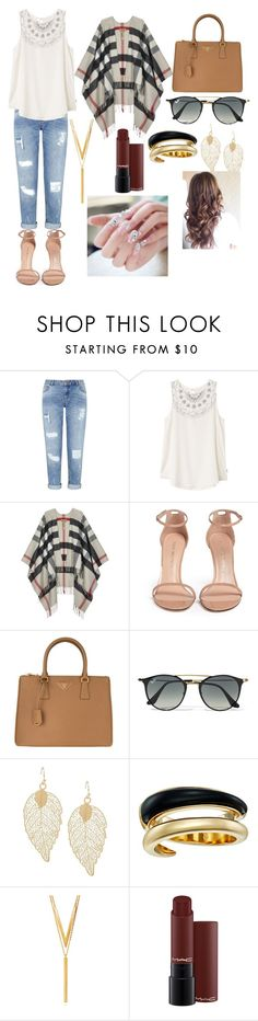 """""""Untitled #11"""" by tea-love ❤ liked on Polyvore featuring Miss Selfridge, RVCA, Burberry, Stuart Weitzman, Prada, Ray-Ban, Michael Kors and BERRICLE"""