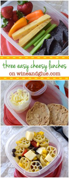 Three Easy Lunch Ideas   www.wineandglue.com   Nutritious and super easy lunch ideas perfect for kids and adults!