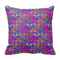Purple Butterfly Pattern Pillow See our collection of our favorite Zazzle throw pillows www.prettythrowpillows.com | Pretty Throw Pillows