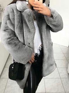 New Light Grey Pockets Faux Fur Turndown Collar Long Sleeve Oversize Coat Oversized Mantel, Oversized Coat, Mantel Elegant, Grey Faux Fur Coat, Mode Boho, Maxi Robes, Winter Mode, Coats For Women, Winter Fashion