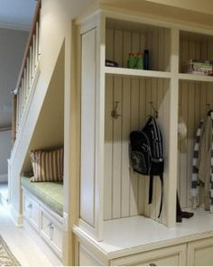spaces under stairs, basement stairs, mud rooms, underthestair space, hous, cubbi, basements, utility rooms, cubby ideas