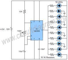 Running LED effects using 555 timer IC. Electronics Projects, Electronics Basics, Dc Circuit, Circuit Diagram, Electronic Circuit Design, Hifi Amplifier, Diwali Lights, Electronic Schematics, Led Street Lights