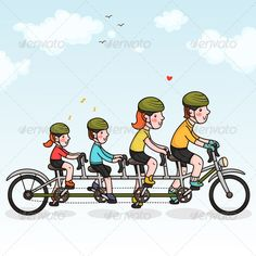 Family Cycling Zip file contains: - editable vector file. RGB - jpeg, size RGB Created: GraphicsFilesIncluded: JPGImage Layered: No MinimumAdobeCSVersion: CS Tags: bicycle Ride Drawing, Tandem Bicycle, Bicycle Maintenance, Graphic Design Trends, Bicycle Design, Congratulations Card, Sport Bikes, Designs To Draw, Cycling