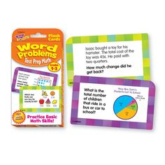 Challenge Cards® Word Problems Test Prep Math, Grades — TREND enterprises, Inc. Build Math, Math Word Problems, Math Practices, Basic Math, Test Prep, Math Skills, Addition And Subtraction, Fun Learning, Challenge Cards