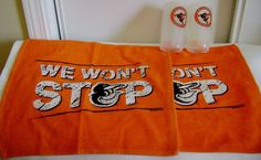 Baltimore Orioles Baseball Lot Two Plastic Mugs 2 Orange Towels MLB Bird Logo #BaltimoreOrioles
