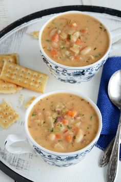 White navy bean soup with ham and little cut up carrots is so yummy and easy to make. awesome fiber.