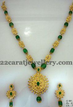 53 Gms Emeralds Drops Long Set | Jewellery Designs