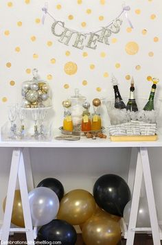 Rarely do I get photos of any of my real life parties.  I'm usually running around up to the last minute, plus the lighting, by the time the party begins, is terrible for good quality pictures.  I decided to put together this bubbly bar based on the one I set up for our holiday cocktail party a