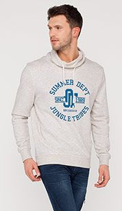 Sweatshirt with lettering in beige-melange