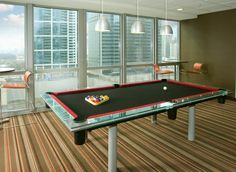 Unique Pool Table repair and recover job by D. Jaburek's Billiards & Pool Table Services at The Tides in Chicago Il, Go Bulls!