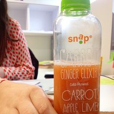 Kathleen's juice of choice: Carrot & Ginger Elixir! Thanks for our delicious vitamin dose today, @snapkitchen! #Houston #GoodEats #Juice #ColdPressed #KathleensPick | Decode Digital Marketing