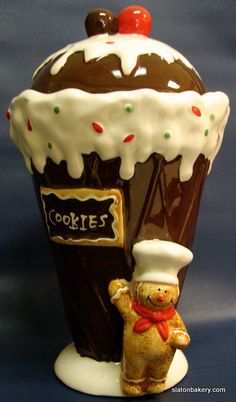 *ICE CREAM CONE GINGERBREAD MAN ~ Cookie Jar
