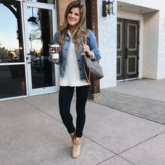 how to wear black jeans black jeans outfit with cream sweater, denim jacket, brown booties