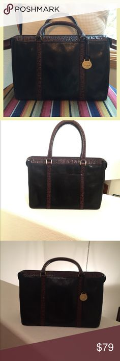 """BRAHMIN Black and Brown with Crocodile Embossing Satchel style leather bag with metal footings on bottom. Zippered opening with leather compartments inside of bag, one has a zipper closure. It also has a key fob. Interior is velour and is clean, but has a few ink marks and makeup marks. This is not a new bag and has signs of use as pictured some scratches. Measurements Height 8 1/4 tall ...12"""" Wide....5 1/2"""" drop. Still it is quite beautiful. Brahmin Bags Satchels"""