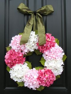 Hydrangea Wreath - Hydrangea Blooms for Spring and Summer - Shabby Chic Decor
