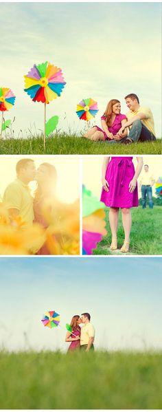 Engagement Photos - colorful pinwheels