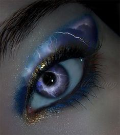 Inner Storm, lightning, eye, blue, make-up, brow, beauty, beautiful, fantasy, surreal, powerful