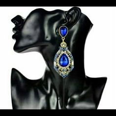 COMING SOON! Beautiful, blue, vintage style earrings that's perfect for a wedding, prom or pageant! Jewelry Earrings