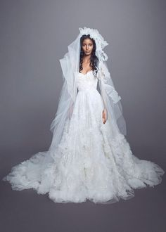 Marchesa Fall 2021 Bridal Collection. www.theweddingnotebook.com Trumpet Style Wedding Dress, Marchesa Wedding Dress, Marchesa Bridal, Strapless Lace Wedding Dress, Wedding Dress Necklines, Gown Wedding, Famous Wedding Dresses, Mini Wedding Dresses, Bridal Dresses