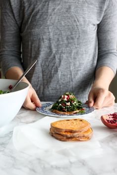 Sweet potato crostini & a kale salad