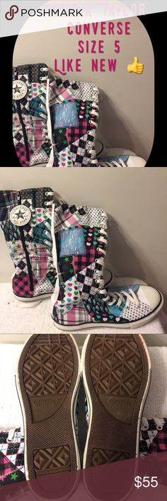 CONVERSE Chuck Taylor Lace/Zipper XX Hi Tops $45 💋SHOW STOPPERS 💖Converse Chuck Taylor Colorful Canvas Lace Up Shoes Like New Size 5 Men's/7 Women's $45 Converse Shoes Athletic Shoes