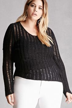 FOREVER 21+ Plus Size Open-Knit Sweater