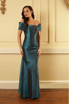 Hepburn Blue Evening Dress - a classic petrol blue taffeta prom dress with a real vintage feel
