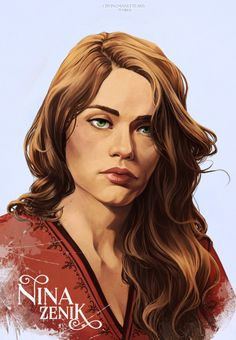 Nina Zenik | Six of Crows  Matthias | Inej | Kaz  Next portrait is done! My girl Nina. I can't wait to see them all together. I edited Matthias to have his name too. Each portrait takes long enough that I might as well just keep throwing them up as I...