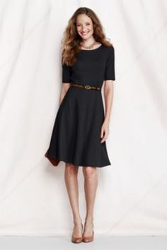 Women's Elbow Sleeve Pont Boatneck Dress from Lands' End