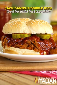 Jack Daniel's Double Kick Crock Pot Pulled Pork Sandwich