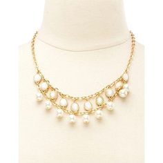 Charlotte Russe Opal & Pearl Statement Necklace (400 INR) ❤ liked on Polyvore featuring jewelry, necklaces, gold, pearl jewelry, opal necklace, bib statement necklace, tiered necklace and chain necklaces