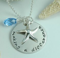 $56, Jewelry, hand stamped. Making a Difference Starfish Necklace.  Perfect gift for teacher, caregiver, counselor, doctor, nurse, therapist, Mom, chiropractor.  Also a great gift idea for autism awareness and those helping these children.    A starfish poem card in included. http://www.etsy.com/shop/divinestampings