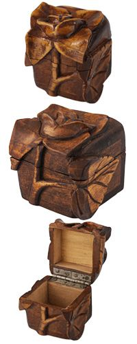 Hand-Carved Rose Cedar Box at The Animal Rescue Site$12.80