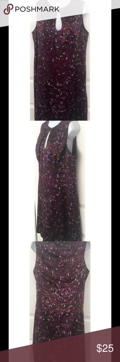 """Nanette Lepore Silk Dress Beautiful all silk dress Purple abstract print Fully lined Back zip Cutout at top front Chest: 18.5"""" across Length: 37"""" shoulder seam to bottom Nanette Lepore Dresses"""