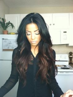 Remy Human Hair Natural Black into Chocolate Brown Ombre hair. #remy #remyhair #hair #wig #ombre