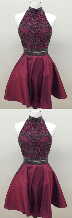 Homecoming Dresses Two Piece, Short Homecoming Dresses, Unique Prom Dresses, Burgundy Homecoming Dresses Short Homecoming Dresses Maroon Homecoming Dress, Two Piece Homecoming Dress, Prom Dresses Two Piece, Simple Prom Dress, Unique Prom Dresses, Hoco Dresses, Trendy Dresses, Cute Dresses, Vintage Dresses