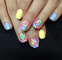 Trendy Nail Art, Stylish Nails, Gel Nails, Acrylic Nails, Manicure, Colorful Nail Designs, Nail Art Designs, Nail Art For Beginners, Geometric Nail