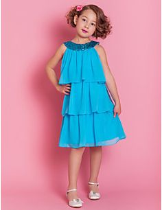 A-line+Knee-length+Flower+Girl+Dress+-+Chiffon+Sleeveless+–+USD+$+79.99
