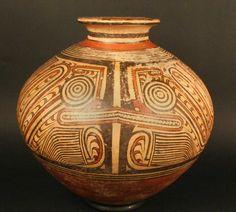 cántaro policromo cultura coclé. Materiales: Cerámica  Periodo: Coclé tardío 800 -1300 dC