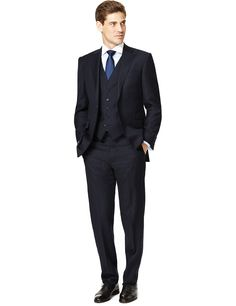 Sartorial Pure Wool 2 Button Pinstriped Suit   M&S