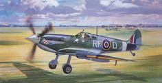 Supermarine Spitfire MkVB del as polaco Jan Zambach. Ww2 Fighter Planes, Ww2 Planes, Fighter Aircraft, Fighter Jets, Ww2 Spitfire, Spitfire Airplane, Supermarine Spitfire, Aviation World, Aviation Art