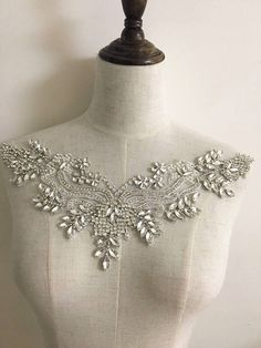 Exquisite rhinestone beaded bridal applique with silver thread iron on fabric base, bridal sash belt wedding applique, beaded lace collar