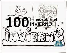 """""""100 fichas sobre el invierno"""", de laeduteca.blogspot.com.es, recopila fichas gráficas y las letras del abecedario con motivos de invierno."""
