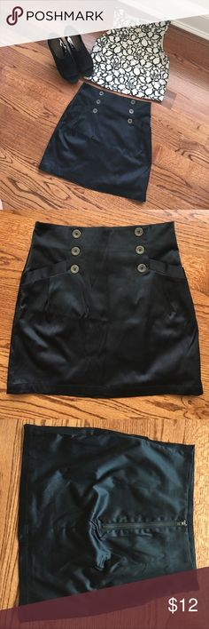Black Mini Skirt with Buttons Used, but in great condition! Perfect for work! xxi Skirts Mini