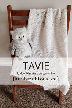 TAVIE baby blanket pattern by Allison O'Mahony @kniterations.ca