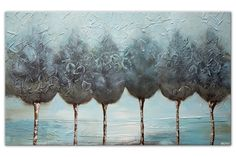 light blue decorative trees abstract painting with silver wall art by Osnat Canvas Painting Landscape, Forest Painting, City Painting, Abstract Landscape Painting, Silver Wall Art, Silver Walls, Abstract City, Paintings For Sale, Tree Decorations